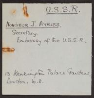Correspondence between J.W.C. Turner and J. Ayriss, 1941 and 1942