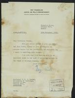 Letters to Professor Turner and General de Baer from Terje Wold, November, 1941