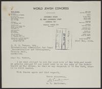 Letter to J.W.C. Turner from A.L. Easterman, 21st May, 1944