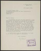 Letter to J.W.C. Turner from A.L. Easterman, 17th August, 1943