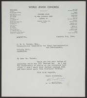 Letter to J.W.C. Turner from A.L. Easterman, January 7th, 1944