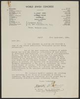 Letter from N. Barou and A.L. Easterman of the World Jewish Congress, 21st September, 1944
