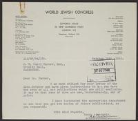 Letter to J.W.C. Turner from A.L. Easterman, October 15th, 1944