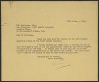 Letter to A.L. Easterman from J.W.C. Turner, 10th October, 1944