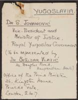 Correspondence between J.W.C. Turner and Yugoslv diplomats, 1941-1942
