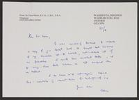 Letter to Leon from Sir Claus Moser