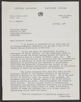 United Nations Letter from J.P.H. Reyne to Professor Turner