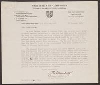 University of Cambridge Letter to Leon Radzinowicz from J.T. Saunders