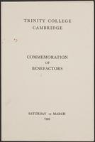 Commemoration of Benefactors, Menu and Songs, page 1