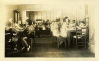 Young Girls at Dinner in Camp Dining Hall