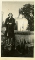Ella Maude Jones Posing on Frozen Fountain at Mid-Year Graduation