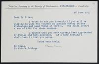 Letter to Dr. Dirac, June 16, 1927
