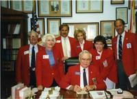 Members of the North Dade Chamber of Commerce in reproduction of Claude Pepper's House office