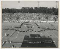 Marching Chiefs in Formation at a Football Game