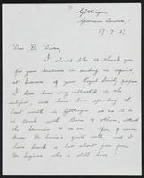 Letter to Dr. Dirac, July 27, 1927
