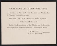 Letter to Dr. Dirac, February 1928