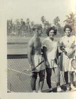 Victoria Lewis and Jean Winter with a Man at a Tennis Court