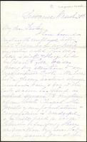 Letter from Susan Fairbanks to her father John Beard, Sewanee, March 28th