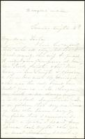 Letter from Susan Fairbanks to her father John Beard