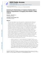 Examining the Relationships of Component Reading Skills to Reading Comprehension in Struggling Adult Readers