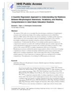 Quantile Regression Approach to Understanding the Relations Among Morphological Awareness, Vocabulary, and Reading Comprehension in Adult Basic Education Students.