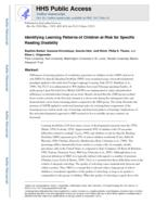 Identifying learning patterns of children at risk for Specific Reading Disability.