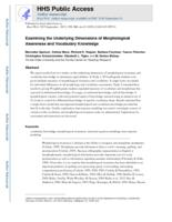 Examining the Underlying Dimensions of Morphological Awareness and Vocabulary Knowledge.