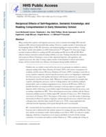 Reciprocal Effects of Self-Regulation, Semantic Knowledge, and Reading Comprehension in Early Elementary School.