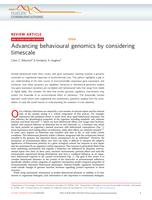 Advancing Behavioural Genomics By Considering Timescale