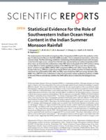Statistical Evidence For The Role Of Southwestern Indian Ocean Heat Content In The Indian Summer Monsoon Rainfall