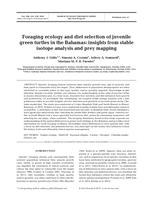 Foraging Ecology And Diet Selection Of Juvenile Green Turtles In The Bahamas