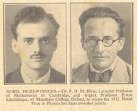 Photo of Paul Dirac and Erwin Schrodinger who jointly won the Nobel Prize in Physics.