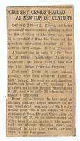 Newspaper article about Paul Dirac's winning of half the Nobel Prize in Physics