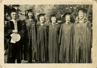 Dr. Ralph L. Eyman, Peggy Barfield, Jean Lloyd, Dorothy B. McGahagin, Victoria Lewis, and Jeanne Eyman (the Fearless Five) at Gradution