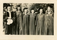 Dr. Ralph L. Eyman, Peggy Barfield, Jean Lloyd, Dorothy B. McGahagin, Victoria Lewis, and Jeanne Eyman (the Fearless Five) at Graduation