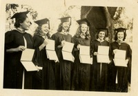 Graduation- Victoria Lewis, Jean Lloyd, Peggy Barfield, Jeanne Eyman, Jayne Rainey, and Dorothy B. McGahagin