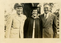Victoria Lewis Wearing Cap and Gown with her Father and Herbert Lewis