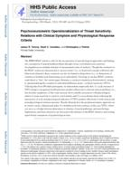 Psychoneurometric operationalization of threat sensitivity