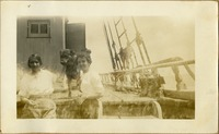Students Aboard Anna M. Hudson, with the Captain's Dog