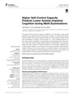 Higher Self-Control Capacity Predicts Lower Anxiety-Impaired Cognition during Math Examinations.