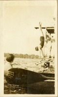 Unidentified Woman, Doing Handstand on Diving Board