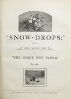 """Snow-Drops"" : Being the Extra Christmas Part of ""The Girl's Own Paper."" For 1885."