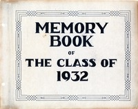 Memory Book of the Class of 1932 Title Page