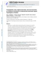 Prostaglandin levels, vaginal innervation, and cyst innervation as peripheral contributors to endometriosis-associated vaginal hyperalgesia in rodents.