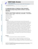 longitudinal study on predictors of early calculation development among young children at risk for learning difficulties.