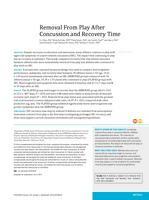 Removal From Play After Concussion and Recovery Time.
