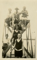 8 Women Standing on Diving Platform at Camp Flastacowo