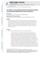 Do Children's Learning-Related Behaviors Moderate the Impacts of an Empirically-Validated Early Literacy Intervention?