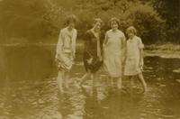 "Mildred, Sue, Rebekah ""Doody"" Nelson, and Anna Standing in Water"