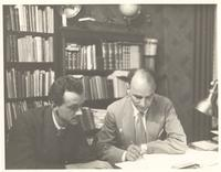 Berlin. Paul Dirac and another man in a study